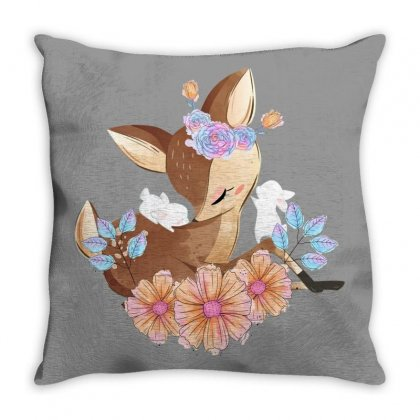 Deer With Flowers Throw Pillow Designed By Gurkan