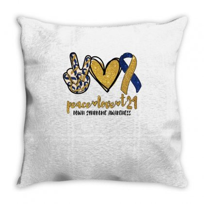 Peace Love T21 Down Syndrome Awareness Throw Pillow Designed By Badaudesign