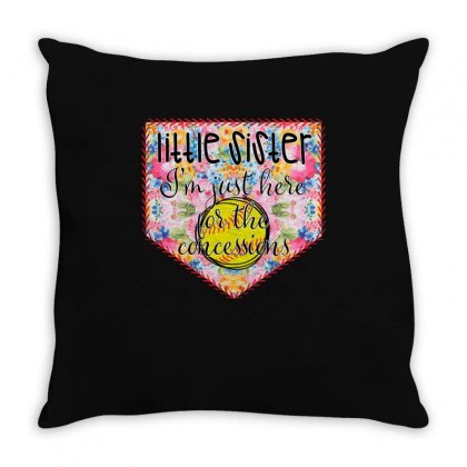 Softball Little Sister I'm Just Here For The Concessions Throw Pillow Designed By Badaudesign