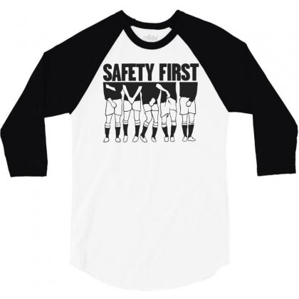 Safety First Funny Football 3/4 Sleeve Shirt Designed By Milamaftah