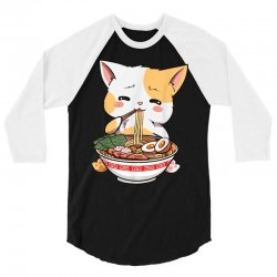 kawaii neko ramen cute ramen cat japanese noodle funny anime 3/4 Sleeve Shirt | Artistshot
