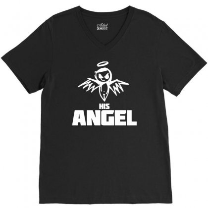 I Am His Angel V-neck Tee Designed By Teeshop