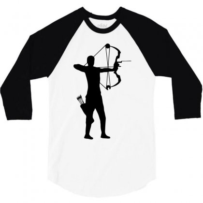 Archer Silhouette Funny 3/4 Sleeve Shirt Designed By Milamaftah