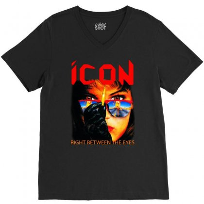Icon Right Between The Eyes V-neck Tee Designed By Teeshop