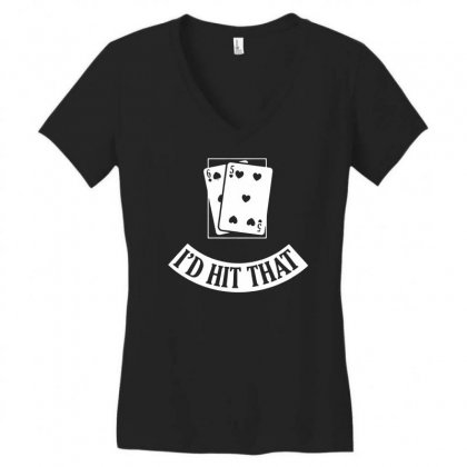 I'd Hit That Black Jack Women's V-neck T-shirt Designed By Teeshop