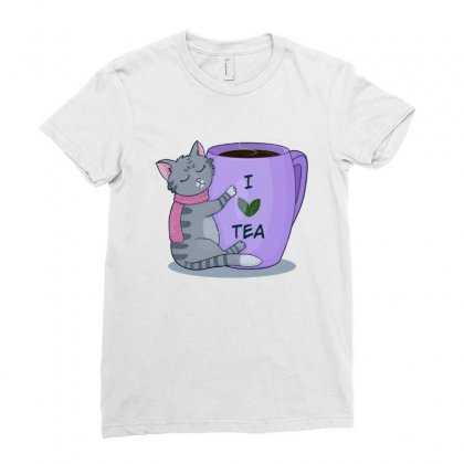 Tea Lover Cat Ladies Fitted T-shirt Designed By Hoainv