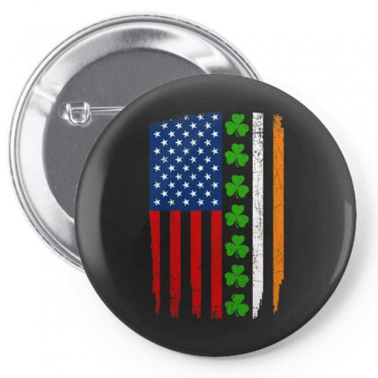 Irish American Flag Shamrock Pin-back Button Designed By Kakashop