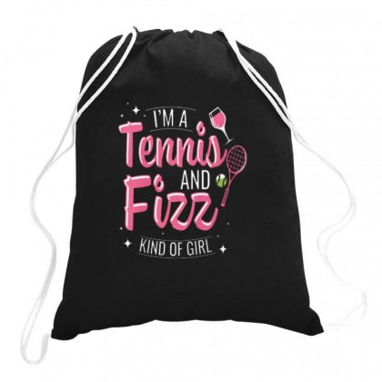 Tennis And Wine Kind Of Girl Drawstring Bags Designed By Hoainv