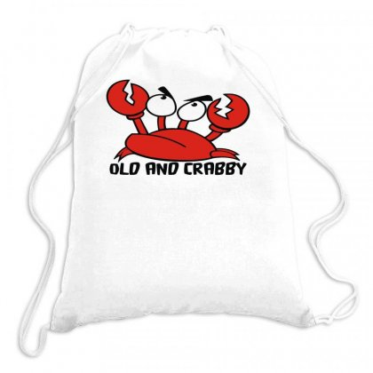 Old And Crabby Funny Drawstring Bags Designed By Milamaftah