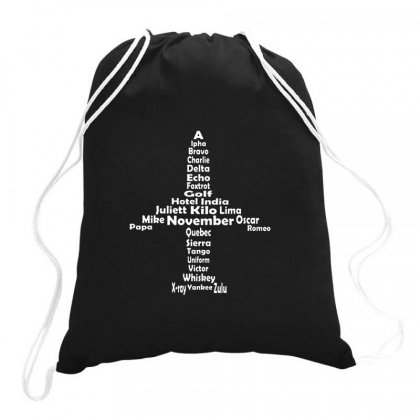 Pilot Phonetic Alphabet Merch Drawstring Bags Designed By Hose White