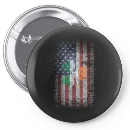Ireland United States America Flag Shamrock Pin-back Button Designed By Kakashop
