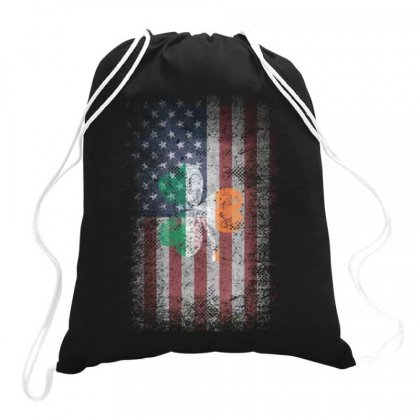 Ireland United States America Flag Shamrock Drawstring Bags Designed By Kakashop