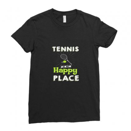 Tennis Is My Happy Flace Ladies Fitted T-shirt Designed By Hoainv