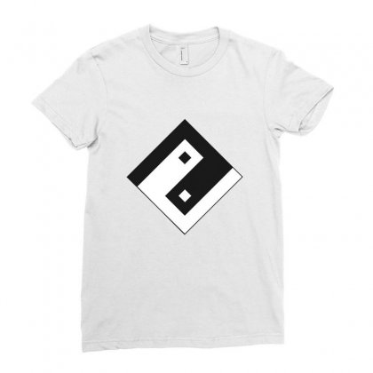 Yin Yang Square Symbol Design Ladies Fitted T-shirt Designed By Alamy