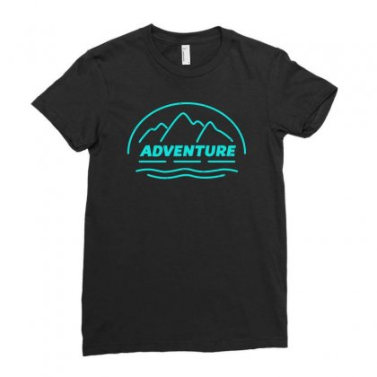Adventure Awaits Outdoors Ladies Fitted T-shirt Designed By S4bilal
