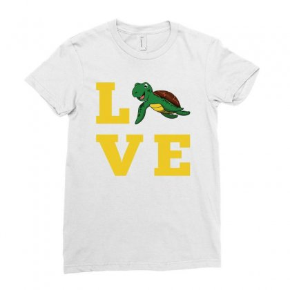 I Love Turtles Funny Kids Quote Sea Drawing Ladies Fitted T-shirt Designed By Hoainv