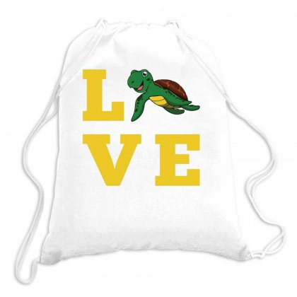 I Love Turtles Funny Kids Quote Sea Drawing Drawstring Bags Designed By Hoainv