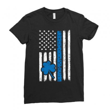 Police American Flag Cop St Patricks Day Ladies Fitted T-shirt Designed By Kakashop