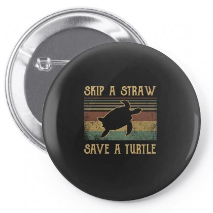 Skip A Straw Save The Turtle Retro Vintage Pin-back Button Designed By Hoainv