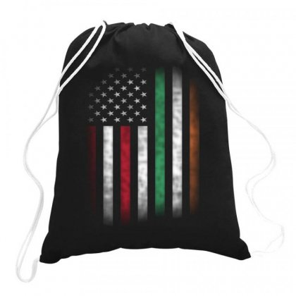 Vintage Irish American Flag Ireland Drawstring Bags Designed By Kakashop