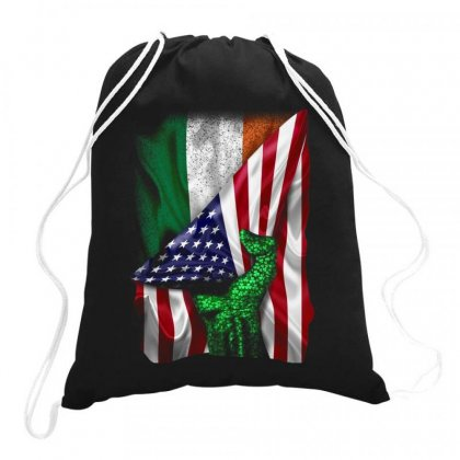 Irish American Flag Ireland Drawstring Bags Designed By Kakashop