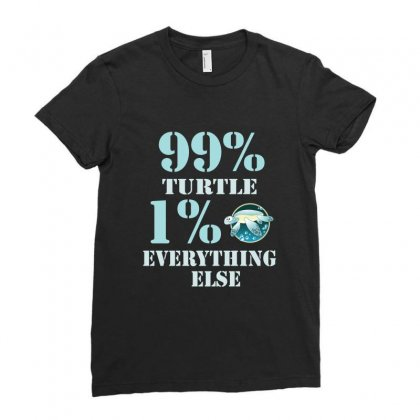 99%  Turtle 1% Eveything Else Ladies Fitted T-shirt Designed By Hoainv