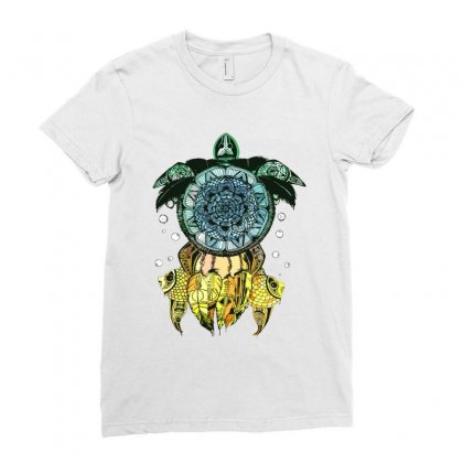 Dreamcatcher Flower Of Life Turtle T Shirt Ladies Fitted T-shirt Designed By Hoainv