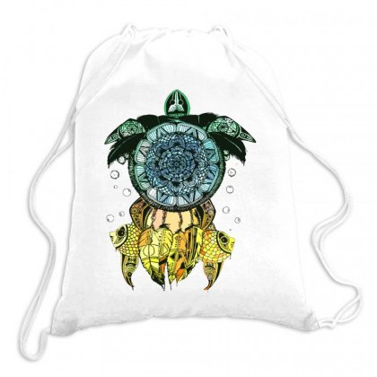 Dreamcatcher Flower Of Life Turtle T Shirt Drawstring Bags Designed By Hoainv