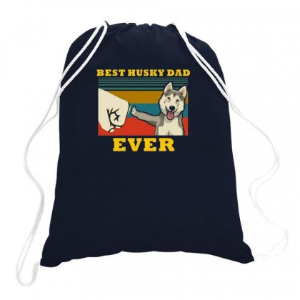 Husky Dad Drawstring Bags Designed By Disgus_thing