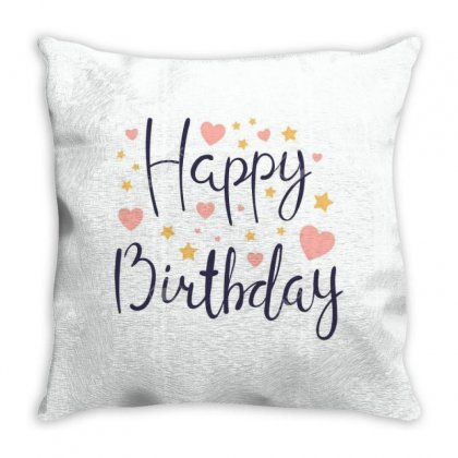 100940792 Hand Written Lettering Quote Happy Birthday With Hearts And Throw Pillow Designed By Linda