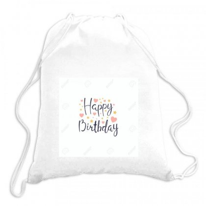 100940792 Hand Written Lettering Quote Happy Birthday With Hearts And Drawstring Bags Designed By Linda