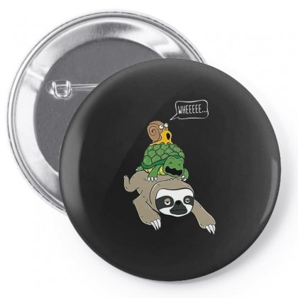Turtles Sloth Riding Turtle Pin-back Button Designed By Hoainv