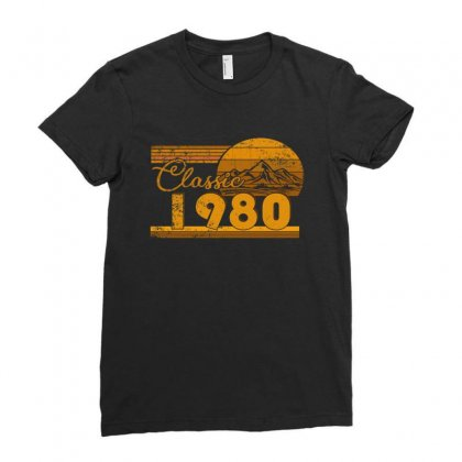 40th Birthday Classic 1980 40 Year Awesome Ladies Fitted T-shirt Designed By Beautifulcatshop