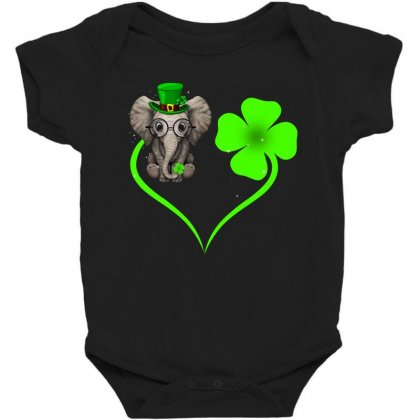 Four Leaf Clovers St. Patrick's Day Gift  Lucky  Elephant Baby Bodysuit Designed By Hoainv
