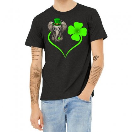 Four Leaf Clovers St. Patrick's Day Gift  Lucky  Elephant Heather T-shirt Designed By Hoainv