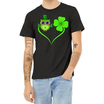 Four Leaf Clovers St. Patrick's Day Gift  Lucky  Owl Heather T-shirt Designed By Hoainv