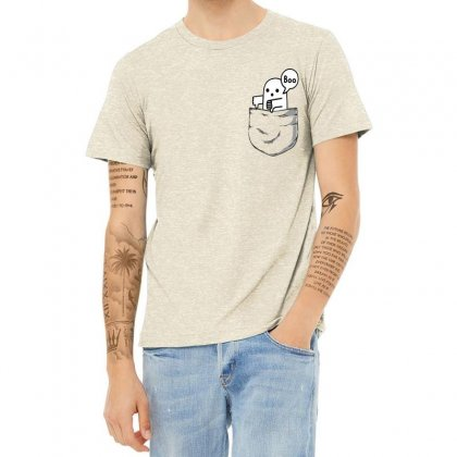 Pocket Ghost Heather T-shirt Designed By Tht