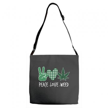 Peace Love Weed  Shamrocks Love  St. Patrick's Day Gift Adjustable Strap Totes Designed By Hoainv