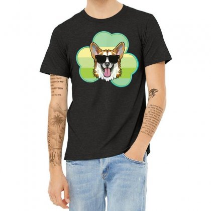 Three  Leaf Clovers St Patricks Day Gift  Lucky Corgi Heather T-shirt Designed By Hoainv