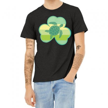 Three  Leaf Clovers St Patricks Day Gift  Lucky Turtle Heather T-shirt Designed By Hoainv