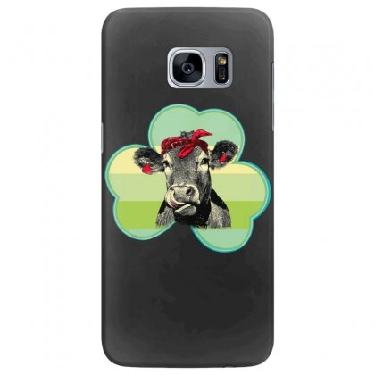 Three  Leaf Clovers St. Patrick's Day Gift  Lucky Cow Samsung Galaxy S7 Edge Case Designed By Hoainv