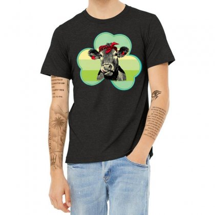 Three  Leaf Clovers St. Patrick's Day Gift  Lucky Cow Heather T-shirt Designed By Hoainv
