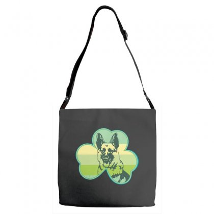 Three  Leaf Clovers St. Patrick's Day Gift  Lucky German Shepherd Dog Adjustable Strap Totes Designed By Hoainv