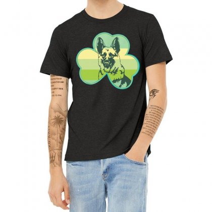 Three  Leaf Clovers St. Patrick's Day Gift  Lucky German Shepherd Dog Heather T-shirt Designed By Hoainv