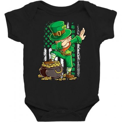 Dabbing Leprechaun Irish American Flag St Patricks Day Boys T Shirt Baby Bodysuit Designed By Hoainv