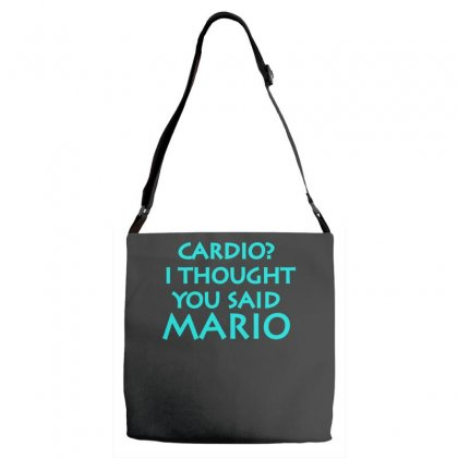 Cardio, I Thought You Said Mario Adjustable Strap Totes Designed By S4bilal