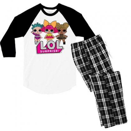 Lol Meme Men's 3/4 Sleeve Pajama Set Designed By Swan Tees