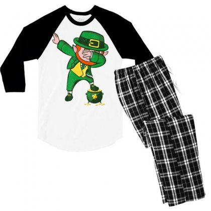Dabbing Leprechaun Shirt Dabechaun   St Patricks Day Shirt Men's 3/4 Sleeve Pajama Set Designed By Hoainv