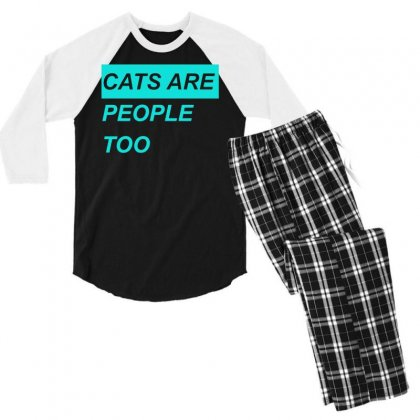 Cats Are People Too Men's 3/4 Sleeve Pajama Set Designed By S4bilal