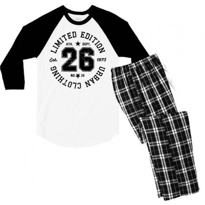 Limited Edition Urban Clothing Men's 3/4 Sleeve Pajama Set Designed By Designisfun
